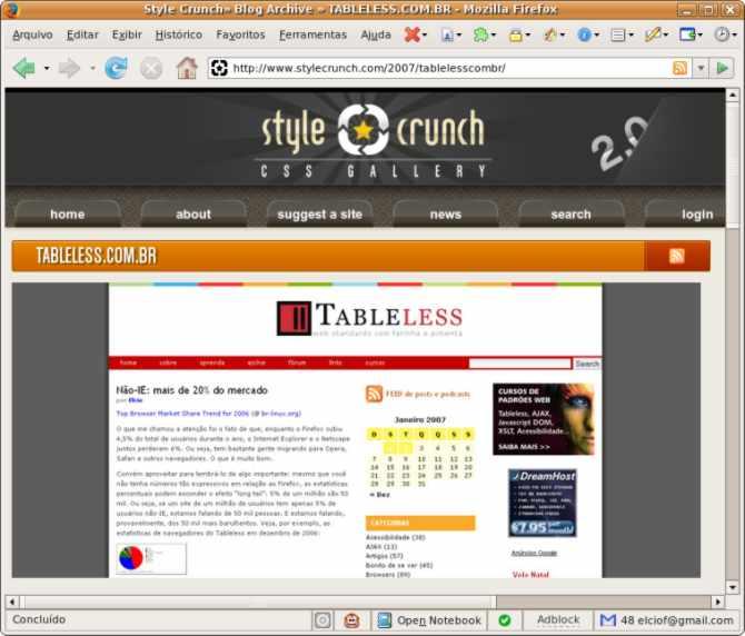 Tableless.com.br no Stylecrunch