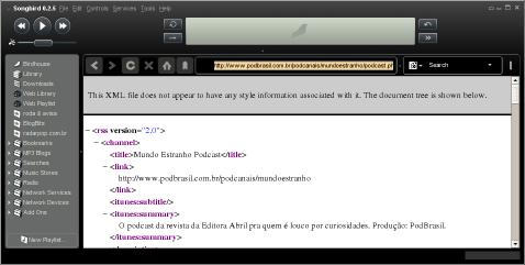 Songbird vendo um feed XML