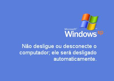 Não desligue ou desconecte o computador; ele será desligado automaticamente. (Windows XP)