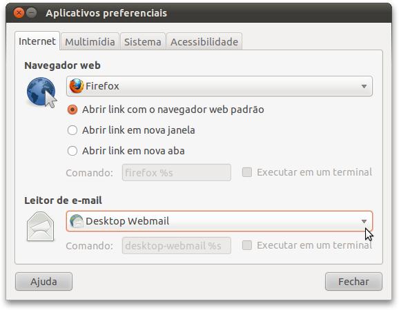 Configurando o Gnome para usar o desktop-webmail